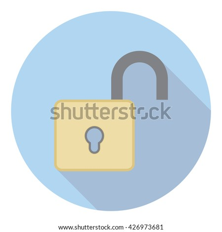 Open Lock Protection Symbol Flat Style Icon