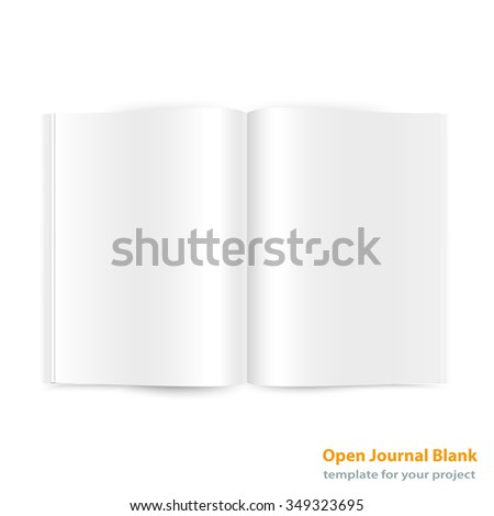 Open magazine double page spread with blank pages on white background. Vector journal EPS10