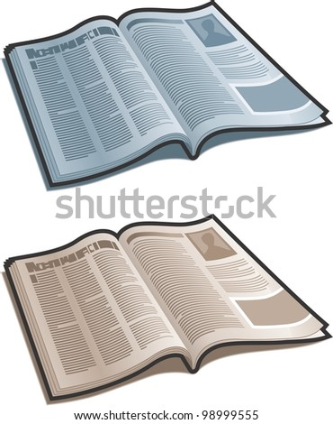 Open magazine with gray and sepia versions. - stock vector
