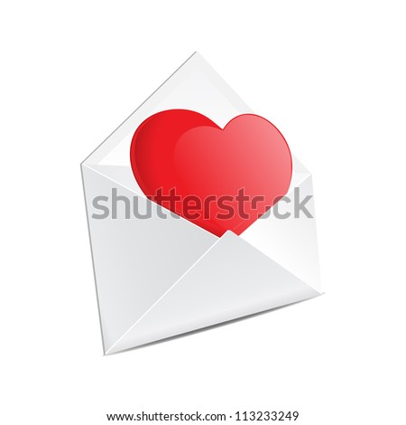 Open mail envelope with heart - stock vector
