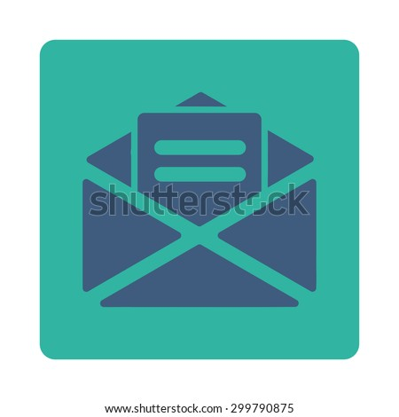 Open mail icon. Vector style is cobalt and cyan colors, flat rounded square button on a white background. - stock vector