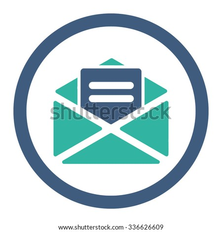 Open Mail vector icon. Style is bicolor flat rounded symbol, cobalt and cyan colors, rounded angles, white background. - stock vector