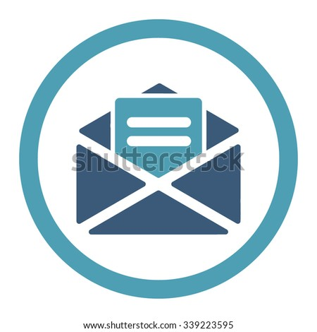 Open Mail vector icon. Style is bicolor flat rounded symbol, cyan and blue colors, rounded angles, white background. - stock vector