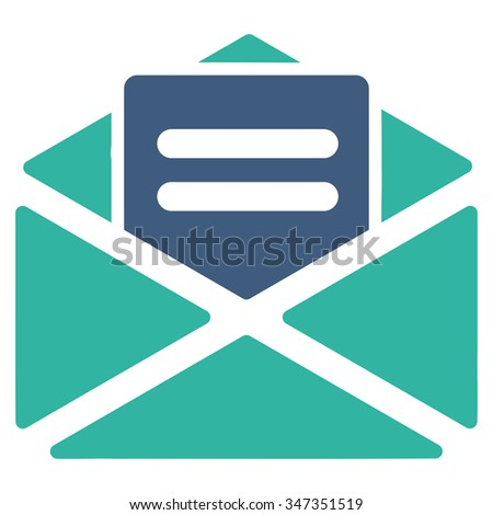 Open Mail vector icon. Style is bicolor flat symbol, cobalt and cyan colors, rounded angles, white background. - stock vector