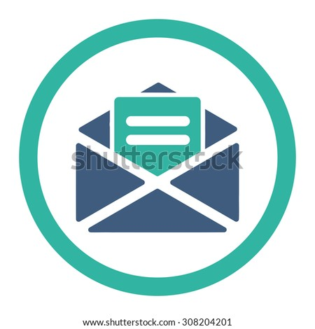 Open mail vector icon. This rounded flat symbol is drawn with cobalt and cyan colors on a white background. - stock vector