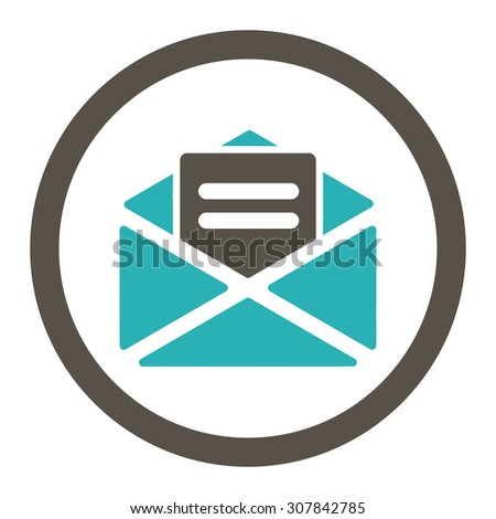 Open mail vector icon. This rounded flat symbol is drawn with grey and cyan colors on a white background. - stock vector