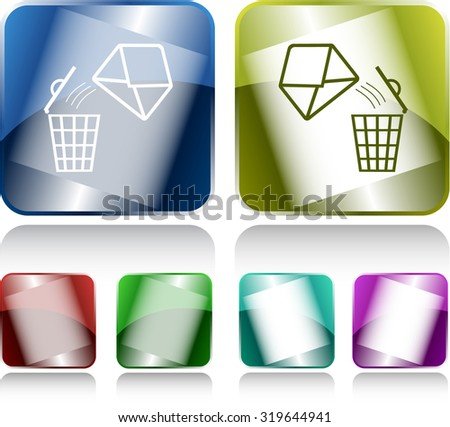 open mail with bin. Internet buttons. Vector illustration.