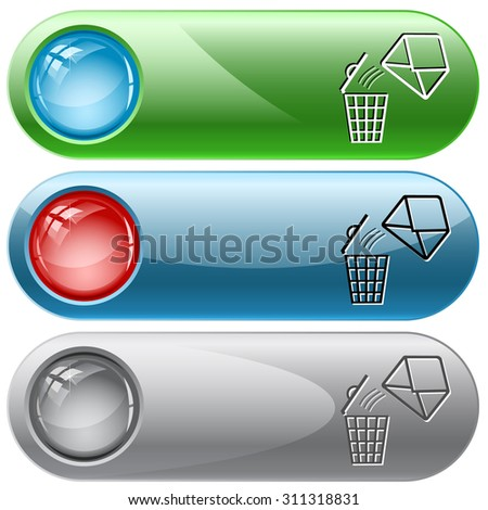 open mail with bin. Vector internet buttons. - stock vector