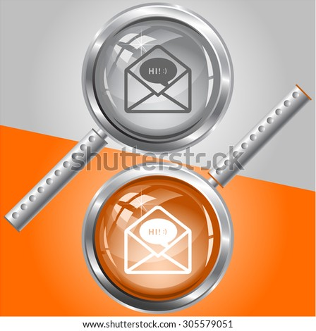open mail with chat. Vector magnifying glass. - stock vector