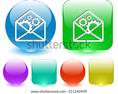 open mail with gears. Vector interface element. - stock vector
