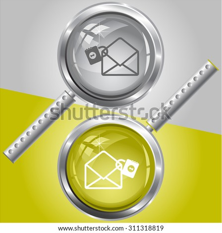 open mail with lock. Vector magnifying glass. - stock vector