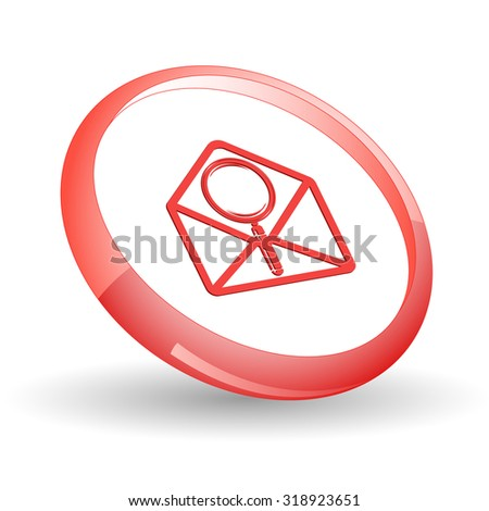open mail with magnifying glass. Vector icon. - stock vector