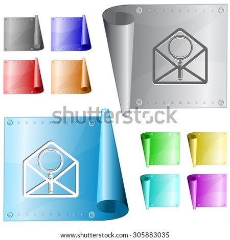 open mail with magnifying glass. Vector metal surface. - stock vector