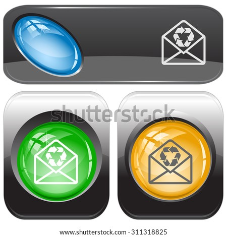 open mail with recycle symbol. Vector internet buttons. - stock vector