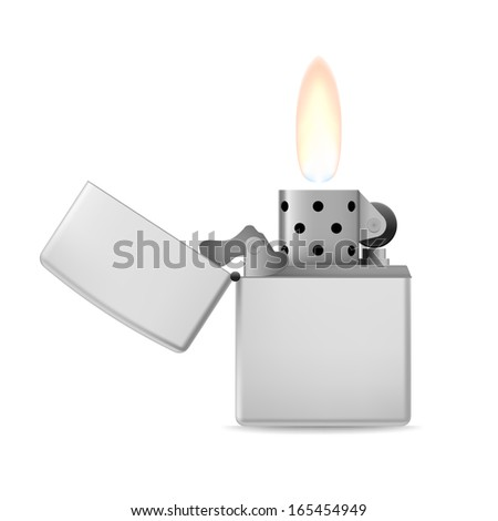 Open metal lighter with flame on white background. - stock vector