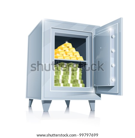 open metallic safe with gold and money vector illustration isolated on white background EPS10. Transparent objects and opacity masks used for shadows and lights drawing