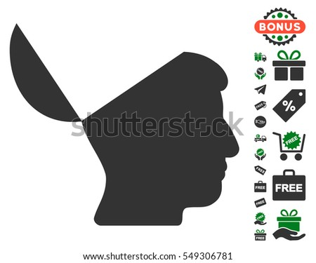 Open Mind icon with free bonus symbols. Vector illustration style is flat iconic symbols, green and gray colors, white background.