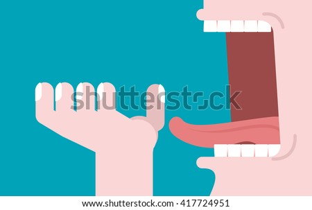 Open mouth and hand. Illustration consumption. Preparation for meal. Man opened his mouth to eat. Teeth and tongue - stock vector