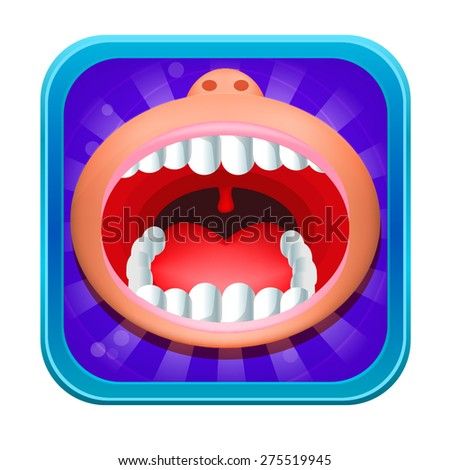Open Mouth Icon Isolated on White