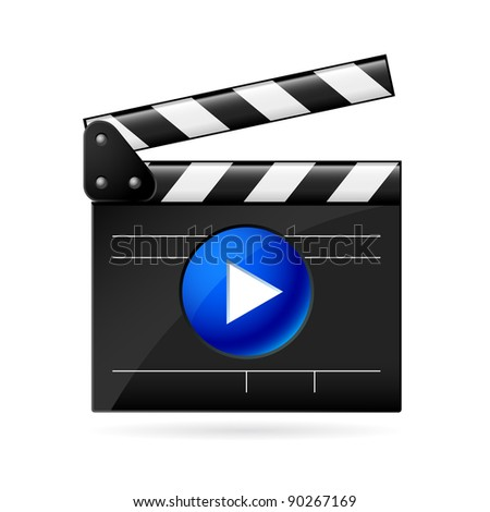 Open movie clapboard on white background. Illustration on white background - stock vector