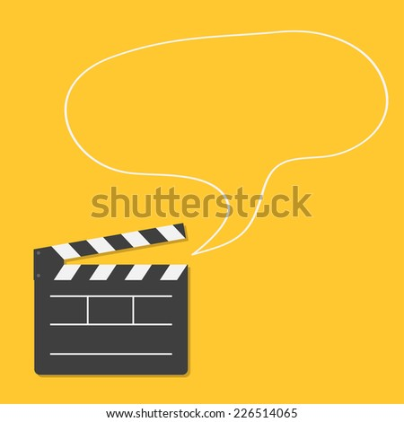 Open movie clapper board with speech bubble Template icon. Flat design style. Vector illustration - stock vector