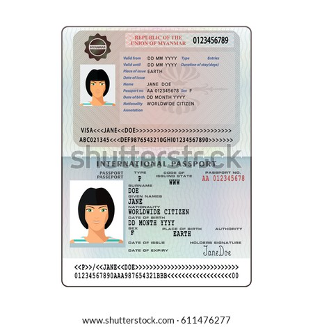 Open myanmar international passport visa sticker stock vector open myanmar international passport visa sticker stock vector 611476277 shutterstock thecheapjerseys Image collections