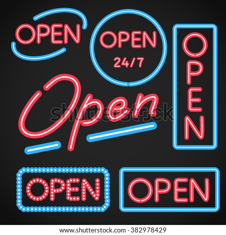 Open Neon Sign - stock vector