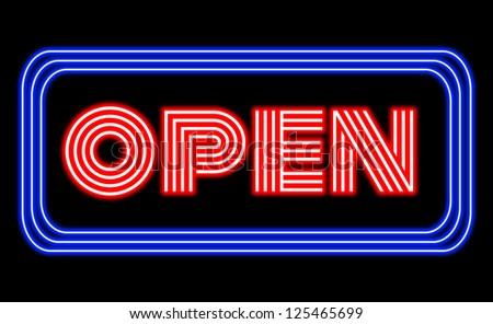 Open neon sign on black - stock vector