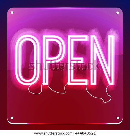 Open. Neon signboard. Word on glass board. Inscription to login. Retro sign for club, cafe, restaurant, store, shop. Lamp in form of text. Vector illustration - stock vector