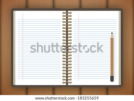 Open notebook and pencil page on wooden background - Vector illustration