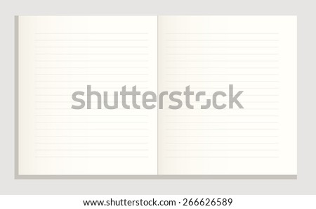 open notebook, blank lined paper, vector illustration - stock vector
