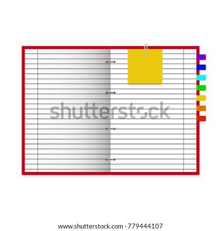 Open Notebook On Light White Background Stock Vector 779444107 ...