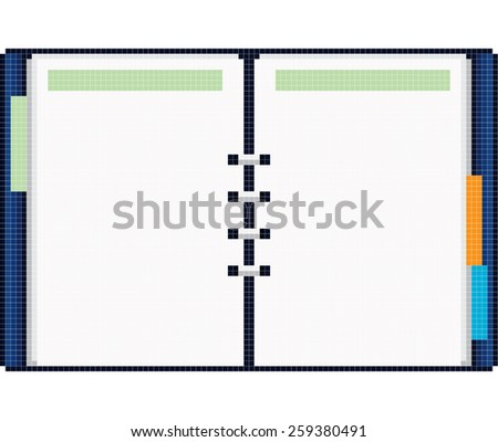 Open notebook pixel art - stock vector