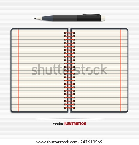 Open notebook with blank lined pages and pen for your design - stock vector