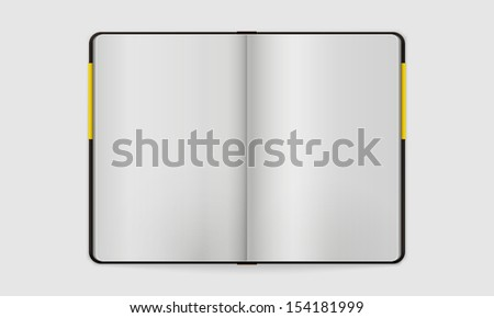 Open Notebook with Blank Pages | Vector Mock Up  | Organized Layers - stock vector