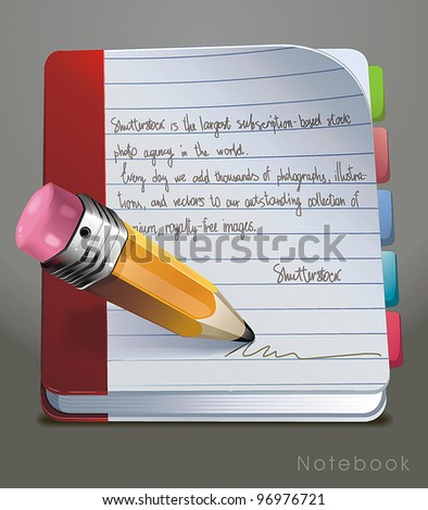 Open Notebook with colorful bookmarks. Vector illustration. - stock vector