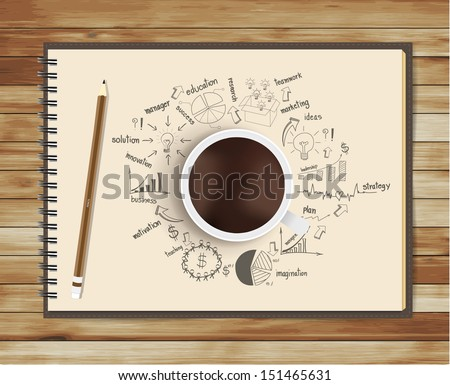 Open notebook with drawing business strategy plan concept idea, pencil and cup of coffee on the desk, Vector illustration modern template design - stock vector
