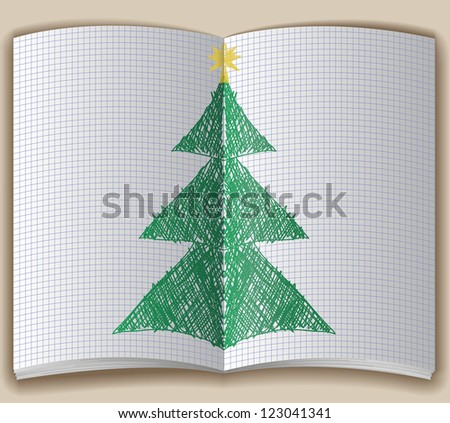 Open notebook with hand-drawn Christmas tree - stock vector