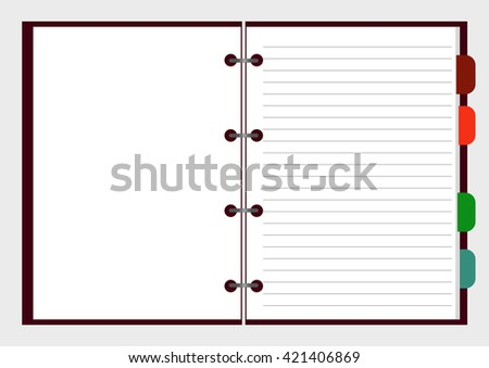 Open notebook with pages, vector illustration EPS 10 for your design and business - stock vector