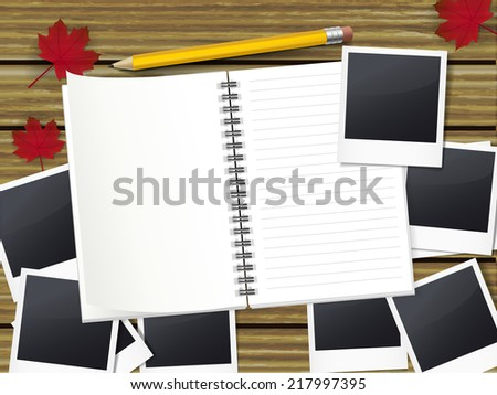 open notebook with pen and lots of photos on wooden table - stock vector