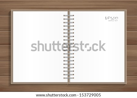 Open notebook with white page on wooden background - Vector illustration