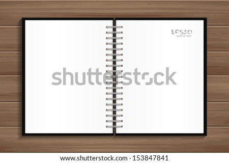 Open notebook with white page on wooden background - Vector illustration - stock vector