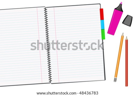 Open notepad with pencils isolated over a white background. Fully editable vector image. - stock vector