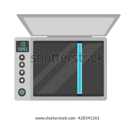 Open office scanner and illustration on white office scanner. Scan document paper copy print office scanner and office scanner print equipment business copier. Modern fax digital device electronics. - stock vector