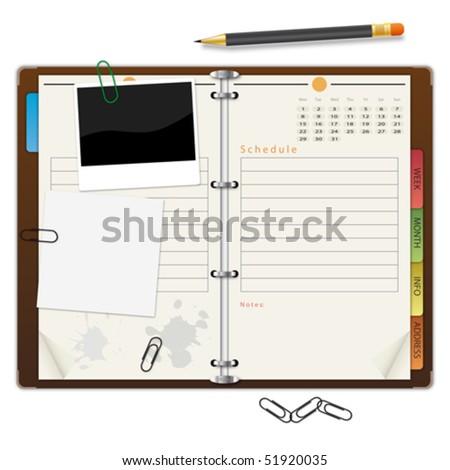 Open organizer - stock vector