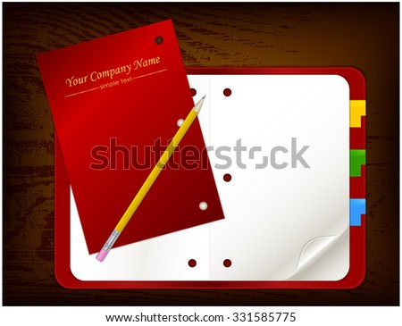 Open organizer on wooden board with pencil - stock vector