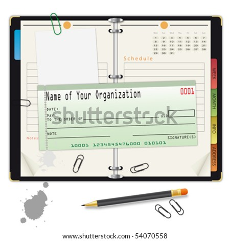 Open organizer with pencil and bank check - an illustration for your design project. - stock vector