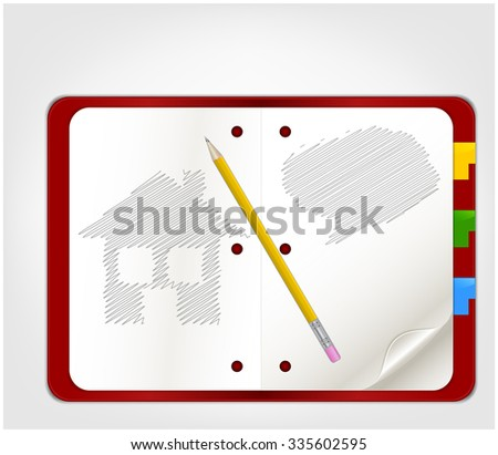 Open organizer with picture - stock vector