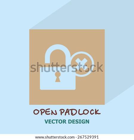 Open padlock icon. Vector design. - stock vector