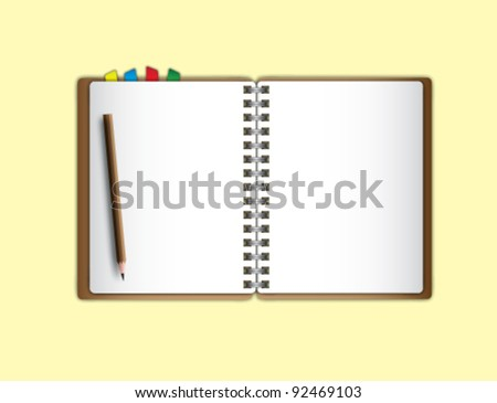 Open page notebook and pencil. - stock vector